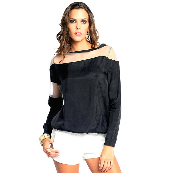 Sara Boo Women's Black Edgy Long-Sleeve Top