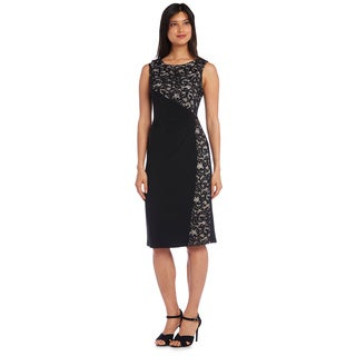 R&M Richards Solid/ Lace Sleeveless Cocktail Dress