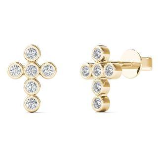 10k Yellow Gold Diamond Accent Cross Fashion Stud Earrings (H-I, I1-I2)