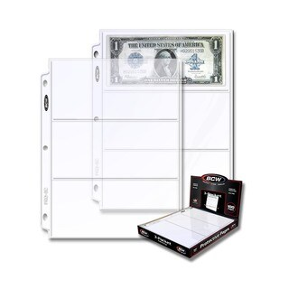 BCW 3-Pocket Currency And Coupon Size Binder Pages (100 ct. box)