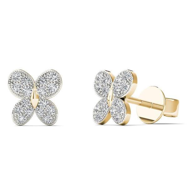 10k Yellow Gold 1/10ct TDW Diamond butterfly Stud Earrings 17431779