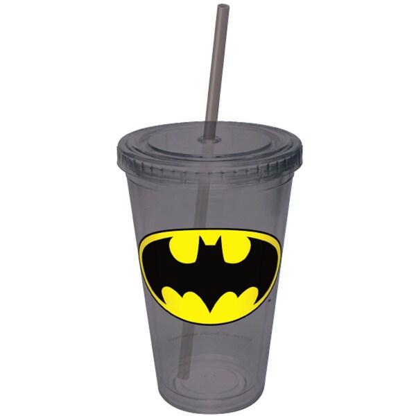Batman Plastic Acrylic Straw Tumbler