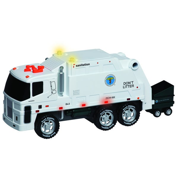 Daron New York Operating Garbage Truck with Dumpster, Lights & Music