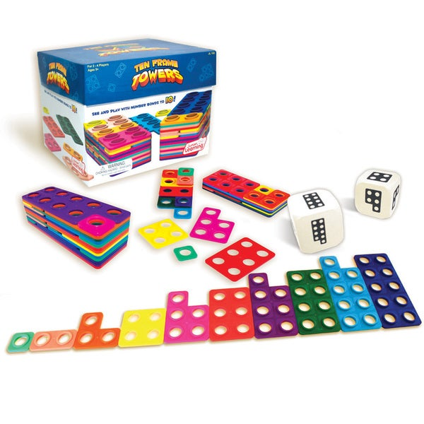 Junior Learning Ten Frame Towers Game - Teaches counting numbers, visualizing numerals, and building number bonds!