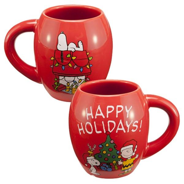 Peanuts Happy Holidays Ceramic Charlie Brown Snoopy Christmas Coffee Mug