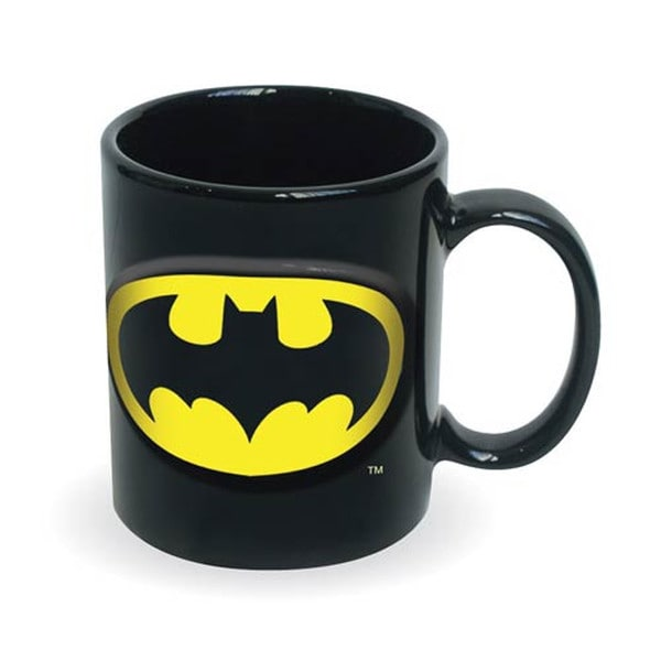Batman Logo Embossed Ceramic DC Comics Forever Dark Knight Coffee Mug Drink