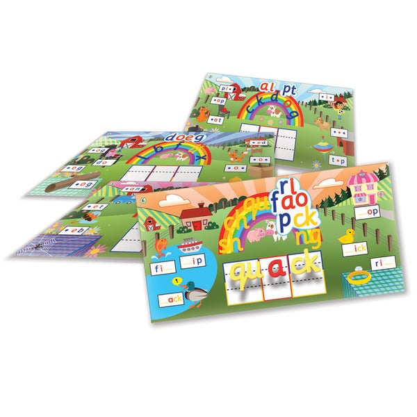 Junior Learning Rainbow Phonics Word Farm Landscapes - 6 Vibrant Magnetic Learning Landscape Boards