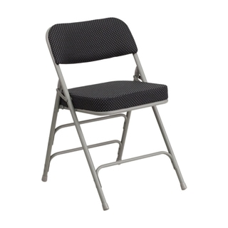 Offex Hercules Series Premium Curved Triple Braced and Double Hinged Black Pin-dot Fabric Upholstered Metal Folding Chair