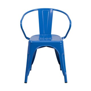 Offex Metal Indoor-outdoor Restaurant Chair with Arms