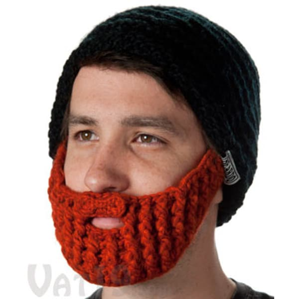 Black and Red Ginger Knit Beard Beanie Hat