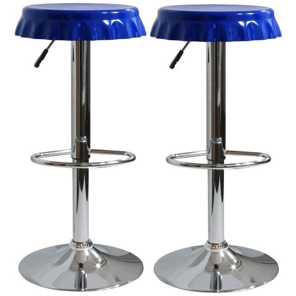 AmeriHome Retro Soda Cap Bar Stool - 2 Pc Blue