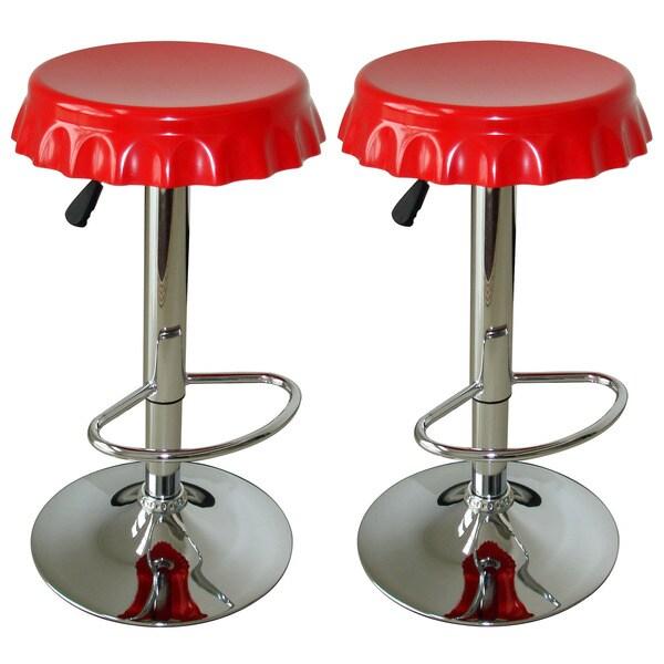 AmeriHome Retro Soda Cap Bar Stool - 2 Pc Red