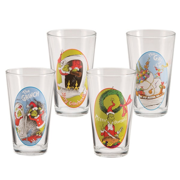 How The Grinch Stole Christmas Dr. Seuss Merry Grinchmas Pint Glasses (Set of 4)