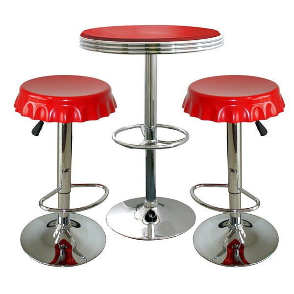 AmeriHome Retro Red Soda Cap Bistro Set (3 Piece Set)