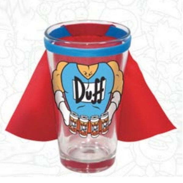 Duffman The Simpsons Pint Glass With Cape