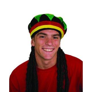Dreadlocks With Rasta Cap Bob Marley Hat