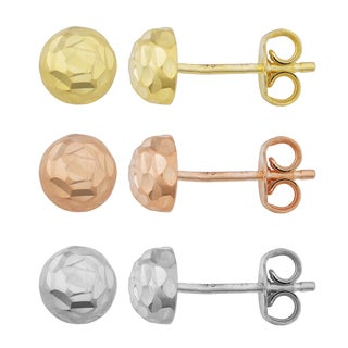 Argento Italia Gold Over Silver 6.5-mm Diamond-cut Dome Stud Earrings (white, yellow or rose)