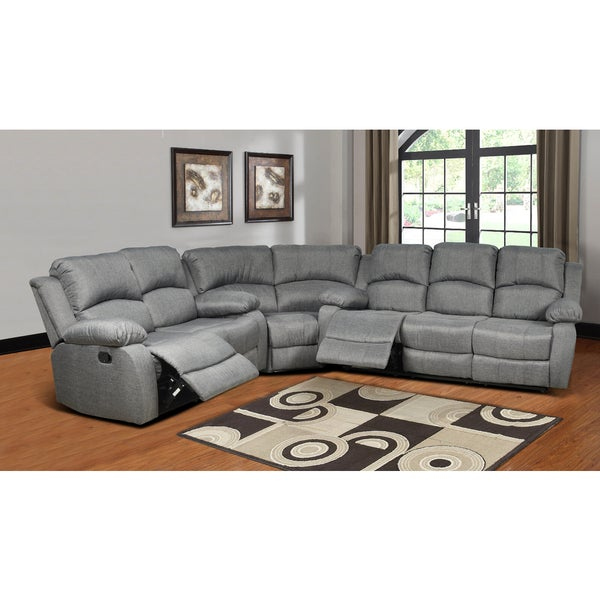Odessa grey linen reclining sectional 18297447 for Grey leather sectional sofa with recliners