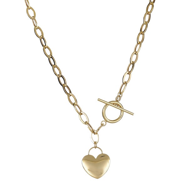 14K Gold 17-inch Heart Toggle Necklace