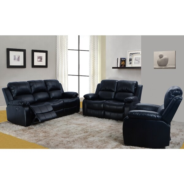 Black Odessa Reclining Sofa Set