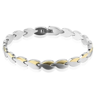 Women's Two Tone Dual Finish Stainless Steel Link Bracelet - 8.75 inches (9mm Wide)