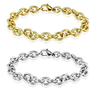 Men's Polished Stainless Steel Cable Chain Bracelet - 8.5 inches (8mm Wide)