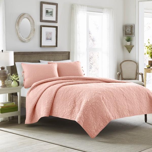 Laura Ashley Felicity Coral Cotton Quilt Set