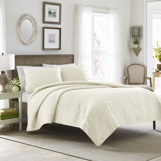 Laura Ashley Felicity Ivory Cotton 3-piece Quilt Set