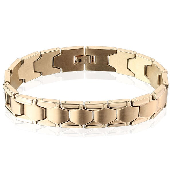 Men's Rose Gold Dual Finish Stainless Steel Hexagon Link Bracelet - 8.5 inches (14mm Wide)