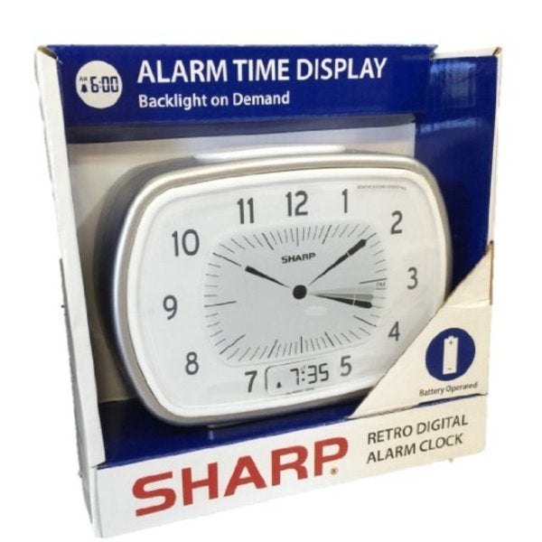 Sharp Retro Analog-Digital Silver Alarm Clock