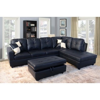Urbania Black Right Hand Facing Sectional