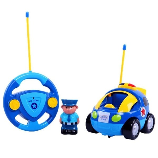 Cartoon Series Toddler Blue R/C Radio Control Police Car
