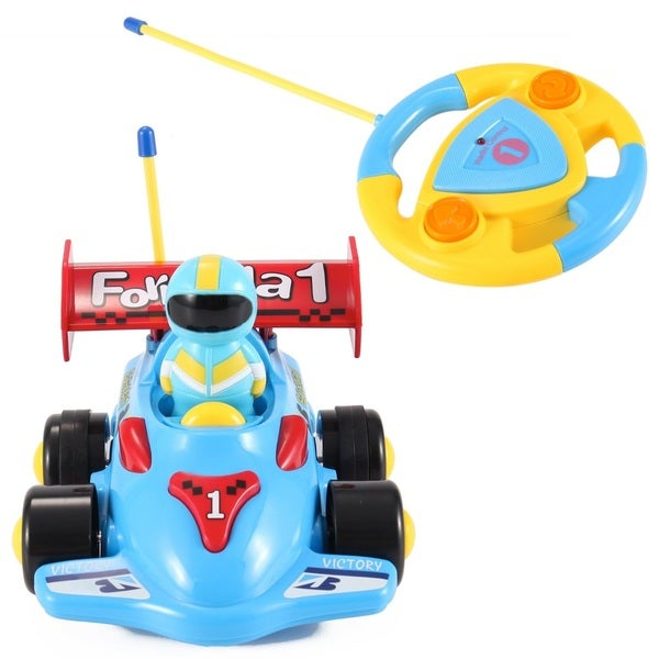 Cartoon Series Toddler Blue R/C Radio Control Formula 1 Car