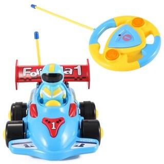 Cartoon Series Toddler Blue R/C Radio Control Formula 1 Car