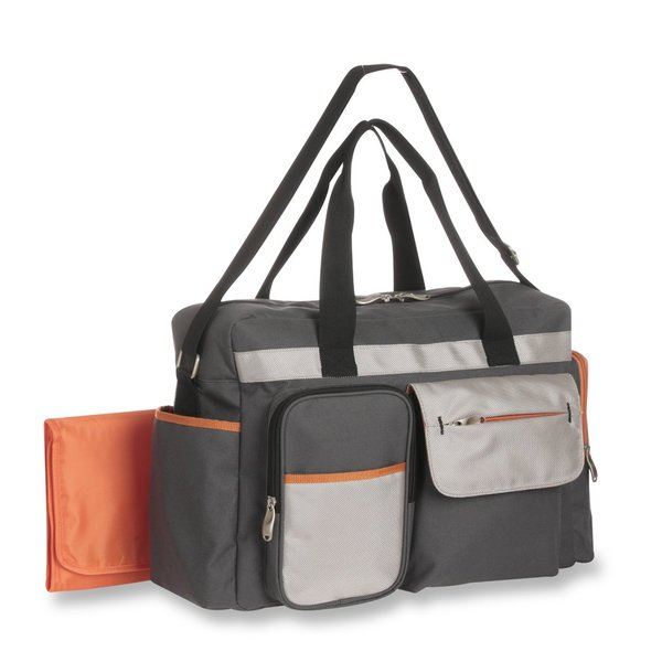 Graco Tangerine Smart Organizer System Duffle Diaper Bag Grey/ Orange