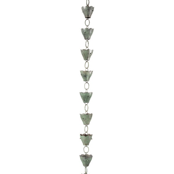 13 Cup Tulip Rain Chain Blue Verde Copper by Good Directions 17432818