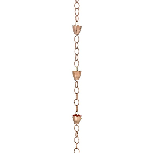 6 Cup Crocus Rain Chain Polished Copper by Good Directions 17432846
