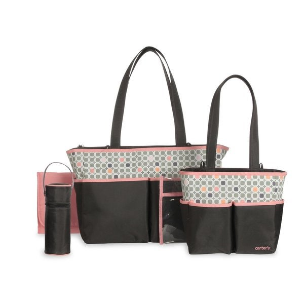 Carter's Diaper Bag Set Grey/ Pink