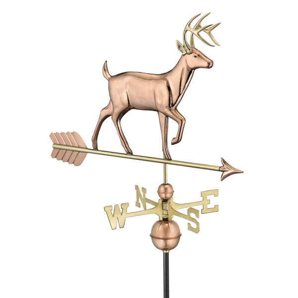 White Tail Buck Weathervane Polished Copper by Good Directions