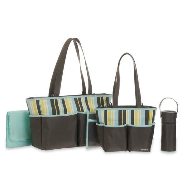 Carter's 5 in One Tote Diaper Bag Set in Grey/ Blue