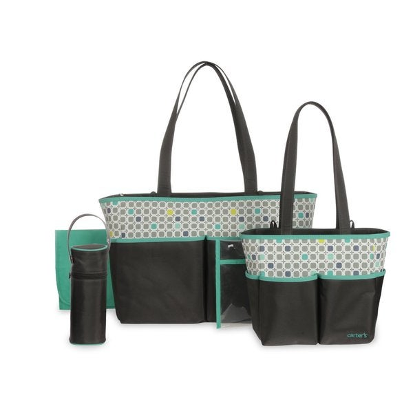 Carter's Diaper Bag Set in Grey/ Turquoise