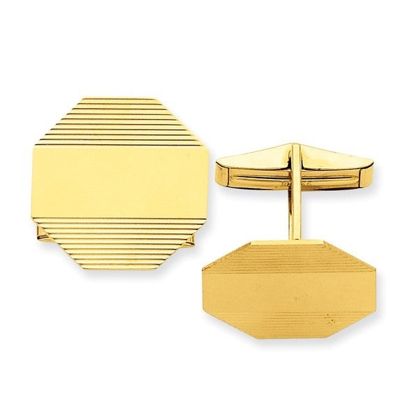 14k Yellow Gold Pattern Cuff Links