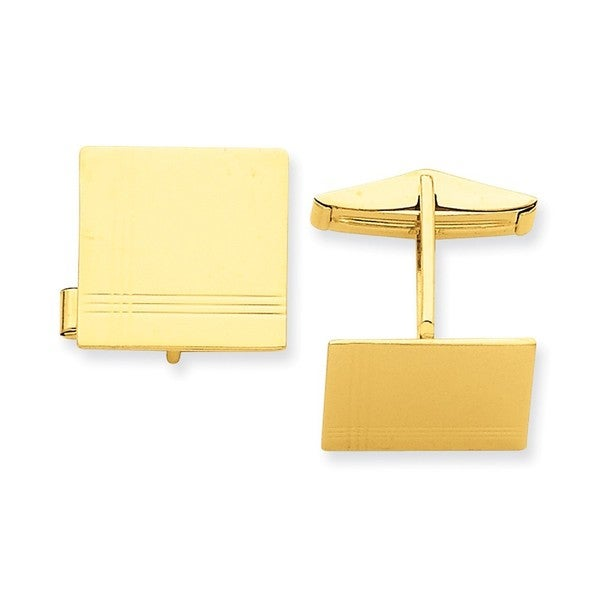 14k Yellow Gold Square Cuff Links