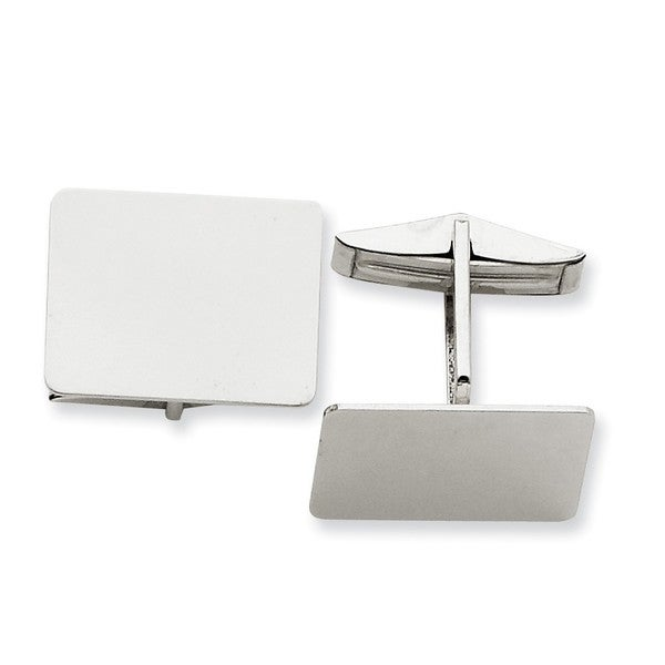 14k White Gold Cuff Links