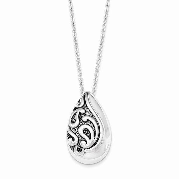 Sterling Silver Antiqued Teardrop Ash Holder Necklace