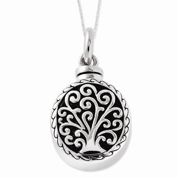 Sterling Silver Antiqued Tree of Life Ash Holder Necklace
