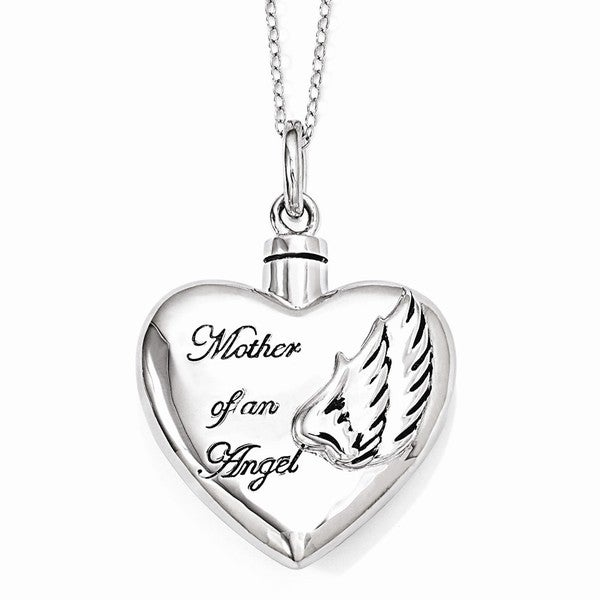 Sterling Silver Mother of an Angel Ash Holder Necklace