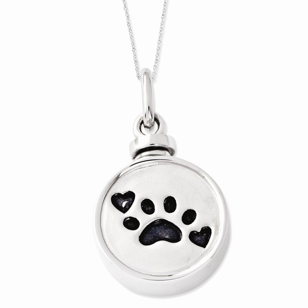 Sterling Silver Enameled Paw Print Ash Holder Necklace