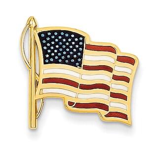 14k Yellow Gold Enameled American Flag Pin