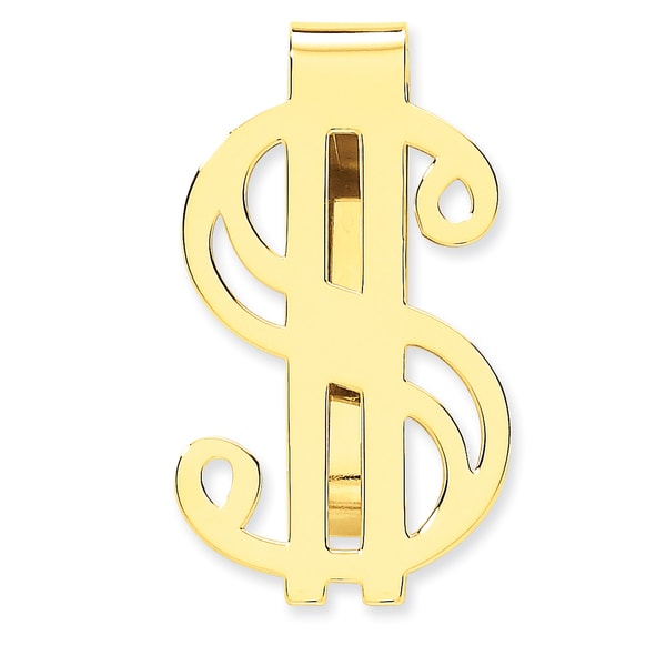 14k Yellow Gold Dollar Sign Money Clip